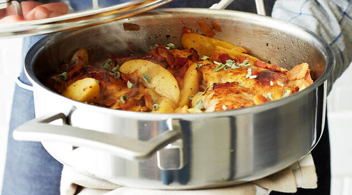 Cider-Braised Chicken with Bacon & Apples