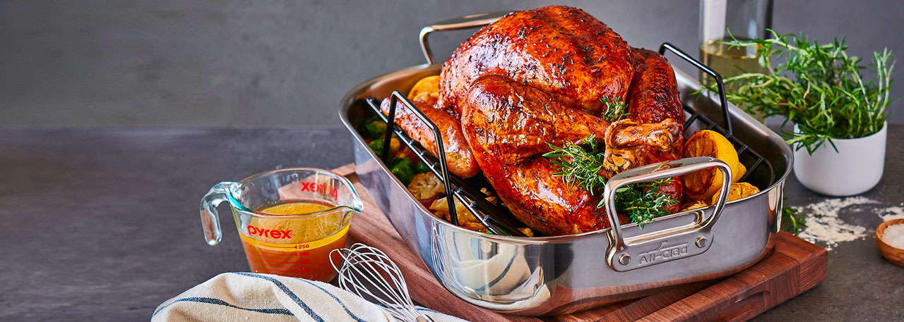 Thanksgiving turkey in All-Clad roasting pan with rack