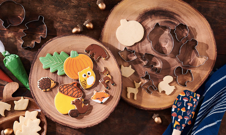 Decorated pumpkin and fall creature sugar cookies with cookie cutters