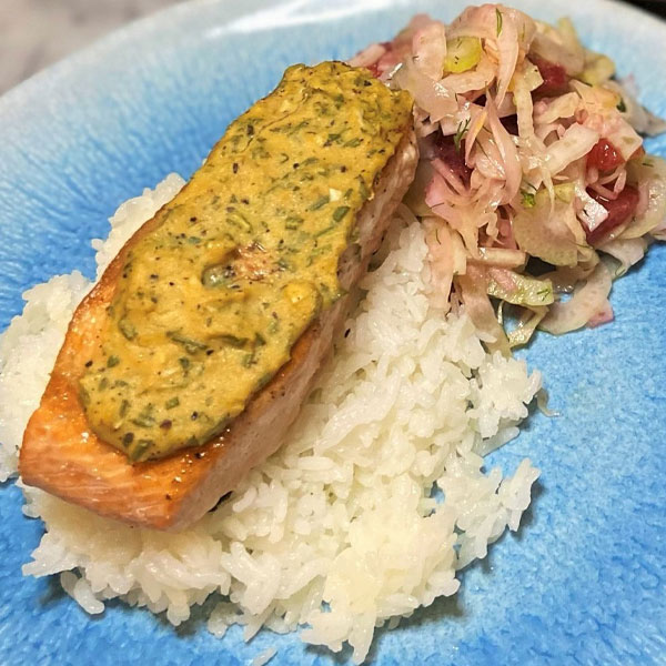 Mustard-Crusted Salmon with Fennel and Blood Orange Salad