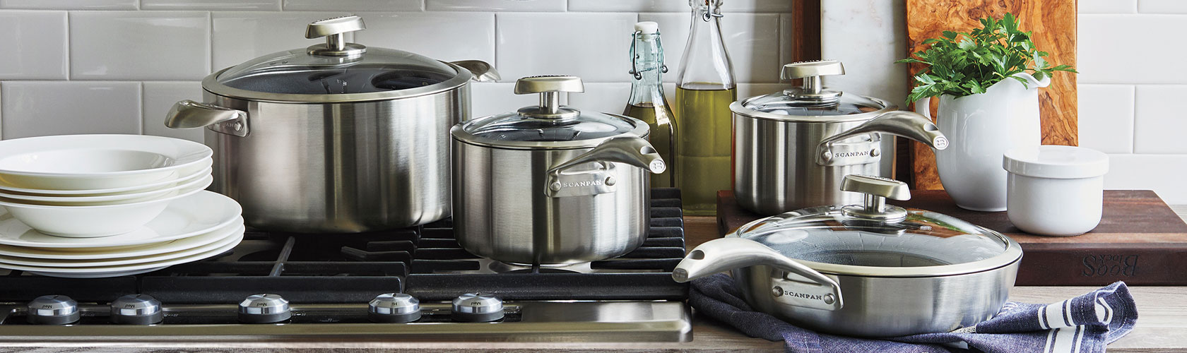 Scanpan cookware set on cooktop