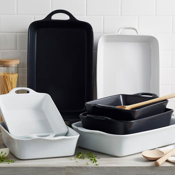 White and black oven to table casserole dishes