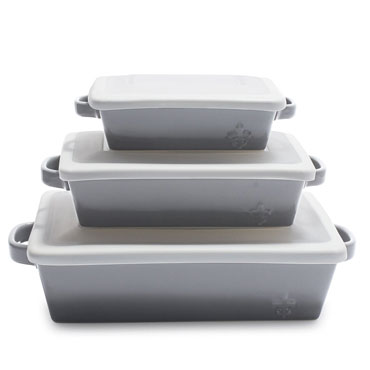 Sur La Table La Marque 84 Stoneware 3-Piece Baker Set with Lids