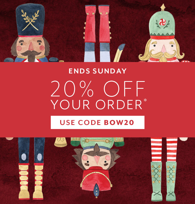 Ends Sunday 20% off your order, use code BOW20