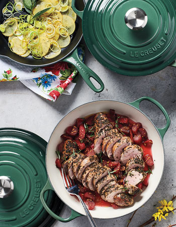 Le Creuset cookware in artichoke color
