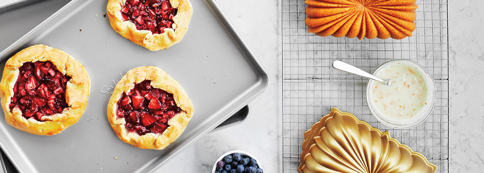 strawberry galettes on sheet pan