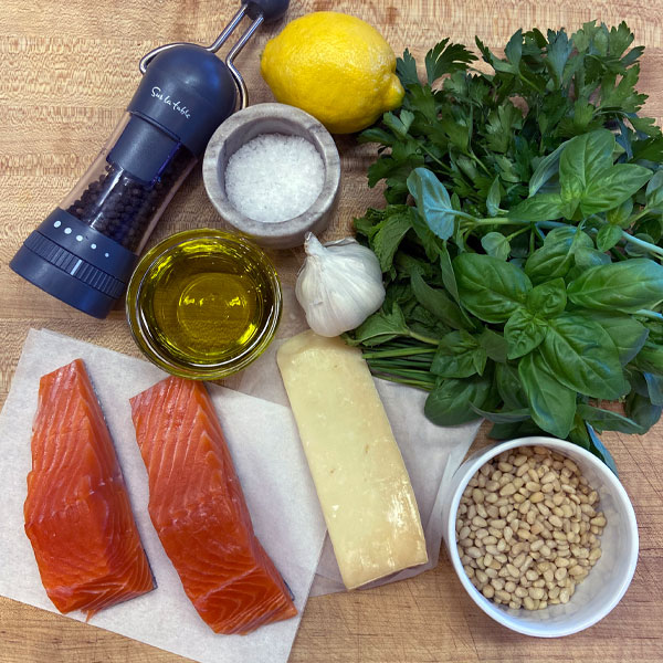 fresh salmon and herb ingredients