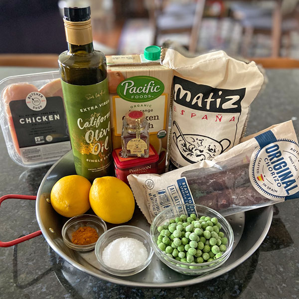 ingredients for Classic Chicken and Chorizo Paella