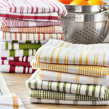 Stack of Striped Kitchen Towels