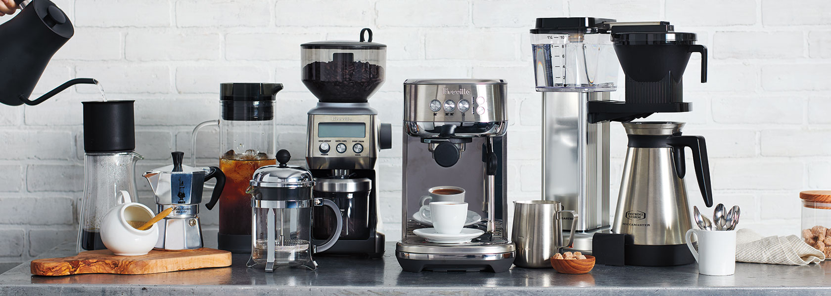 Coffee and espresso machines with sugar and cream