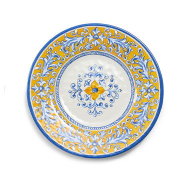 Mercado Salad Plates in blue and yellow, Set of 4