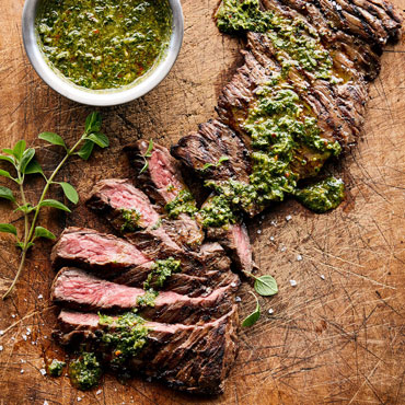 Steak Night cooking class, grilled steak with chimichurri sauce