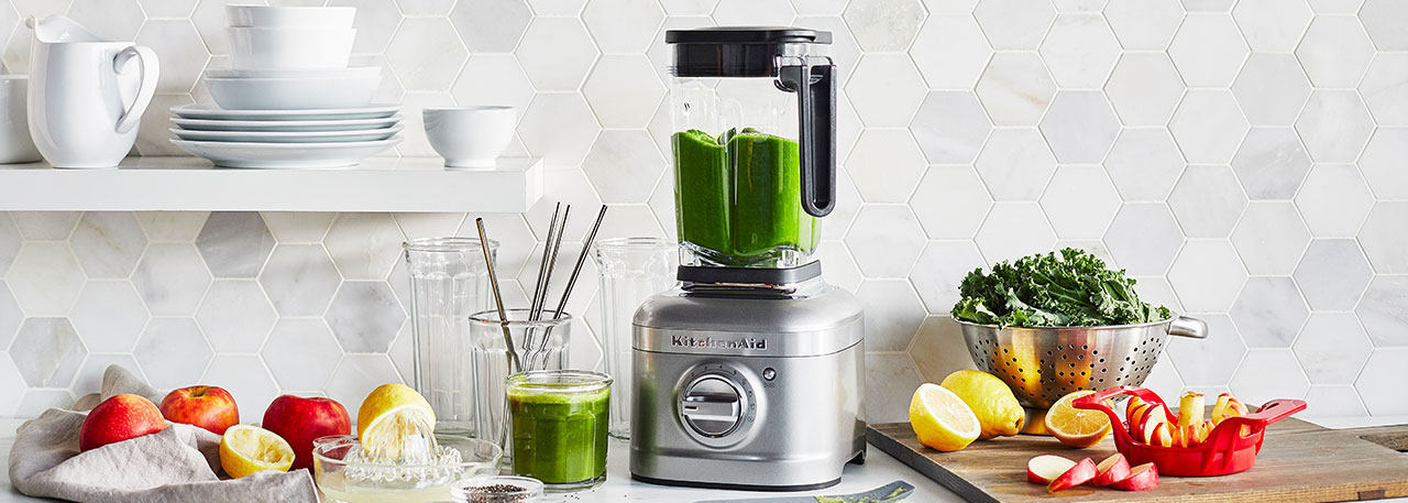KitchenAid blender with green smoothie