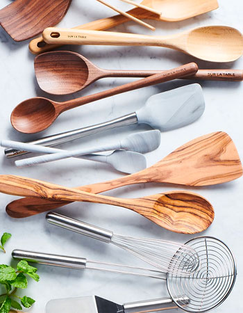 Wooden and stainless steel kitchen tools