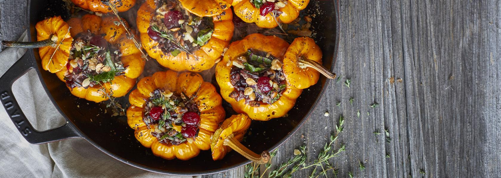Staub All-Day Pan with stuffed mini pumpkins