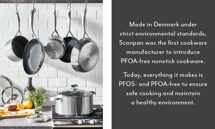 Scanpan cookware set, PFOS and PFOA-free to ensure safe cooking.
