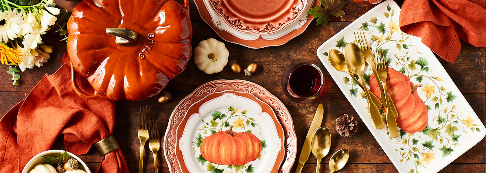 Staub pumpkin cocotte and pumpkin dinnerware