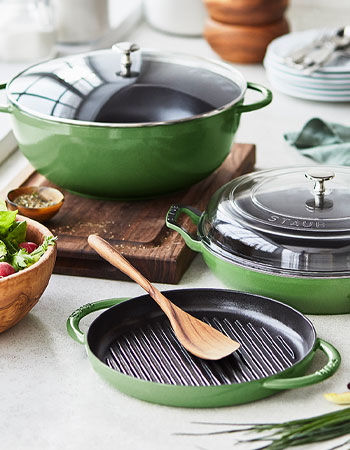 Staub cast iron cookware in Chive color