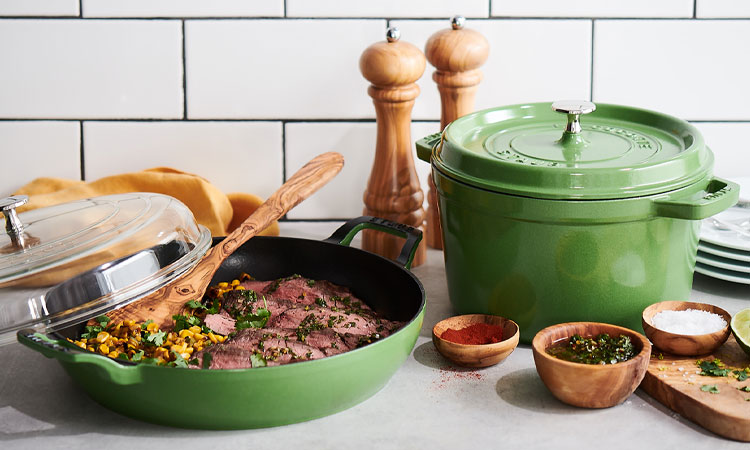 Staub cookware in green chive color