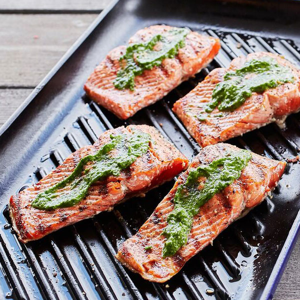 Grilled Salmon with Summer Herb Pesto