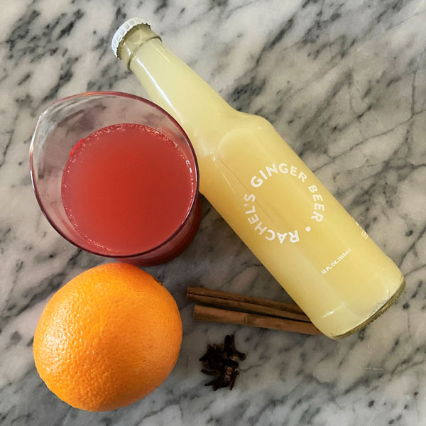 ingredients for mulled Moscow mule mocktail recipe