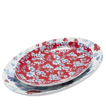 Pique-nique Floral Porcelain Platters, Set of 2