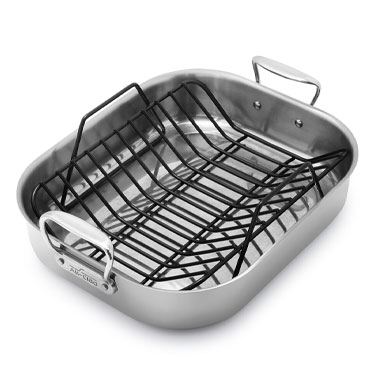 All-Clad Stainless Steel Roasting Pan With Nonstick Rack & Whisk