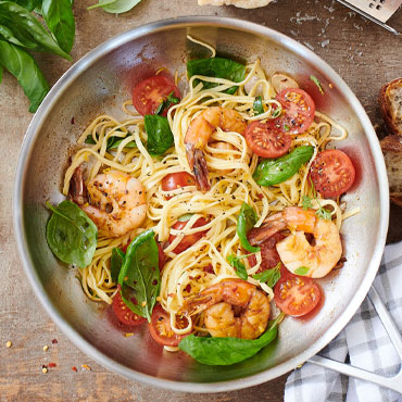 Grilled Shrimp with Homemade Pasta Online Cooking Class, shrimp in saucepan