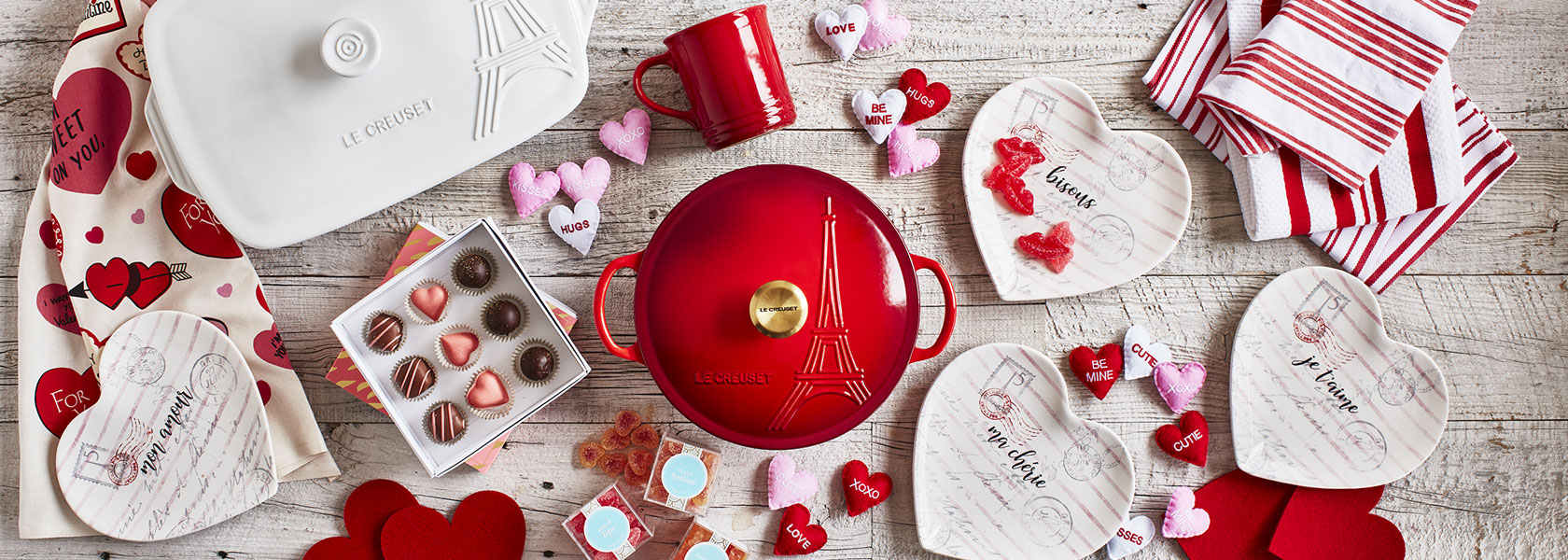 Valentine's Day cookware, dinnerware and decor.