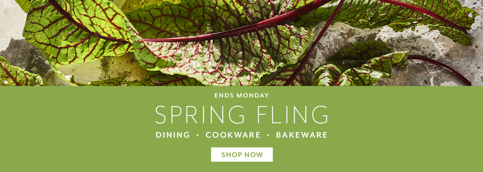 Ends Monday Spring Fling Event, save on dining, cookware and bakeware.