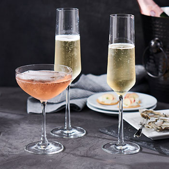 champagne and coupe stemware