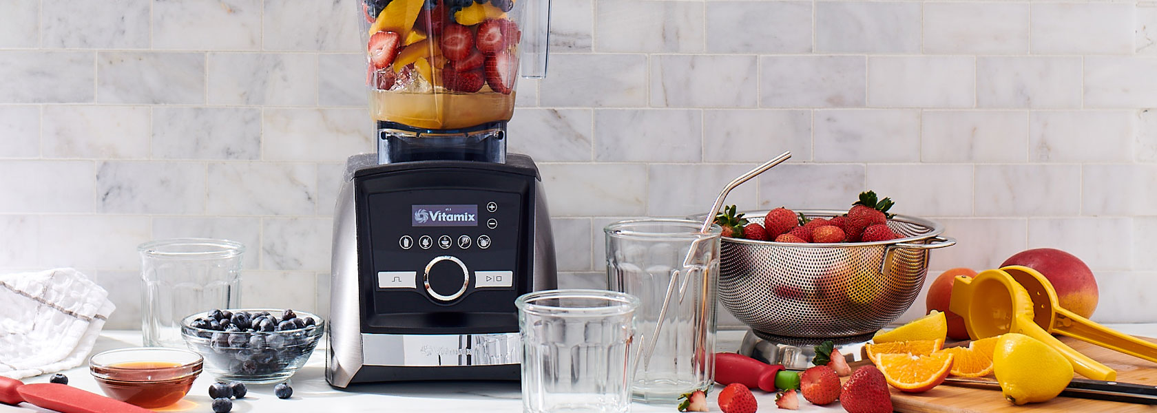Vitamix blender with fresh fruit