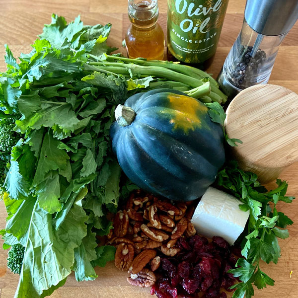 ingredients for Roasted Acorn Squash and Broccoli Rabe Salad with Ricotta Salata