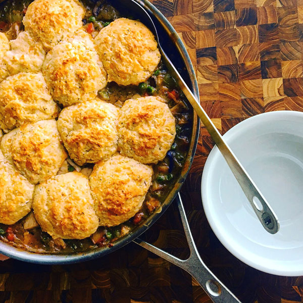 Leftover Turkey Pot Pies with Cheddar Biscuit Topping