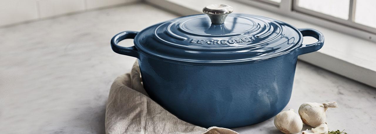 Le Creuset deep teal cookware