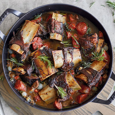 Pressure-Cooker Short Ribs served in Staub cocotte