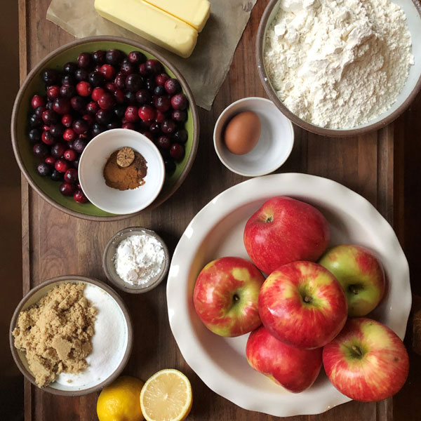 ingredients for Autumn Leaf Cranberry Apple Pie