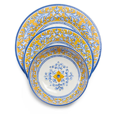 Mercado 12-Piece Dinnerware Set in blue and yellow