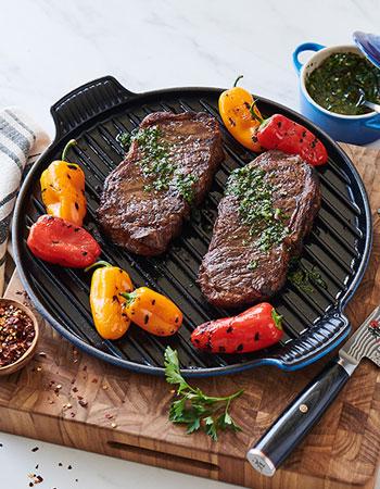 Le Creuset Bistro grill pan in Azure blue color