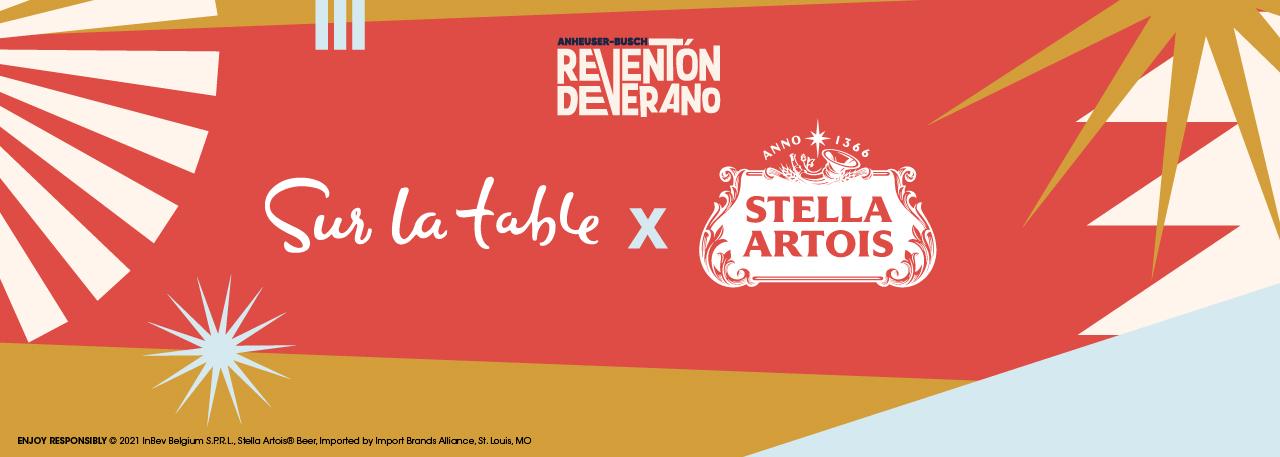 Sur La Table and Stella Artois logos