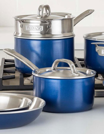Viking cookware with blue exteriors