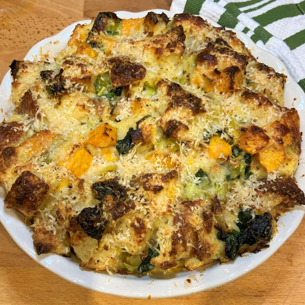 Winter Squash Bread Pudding with Spinach and Gruyere