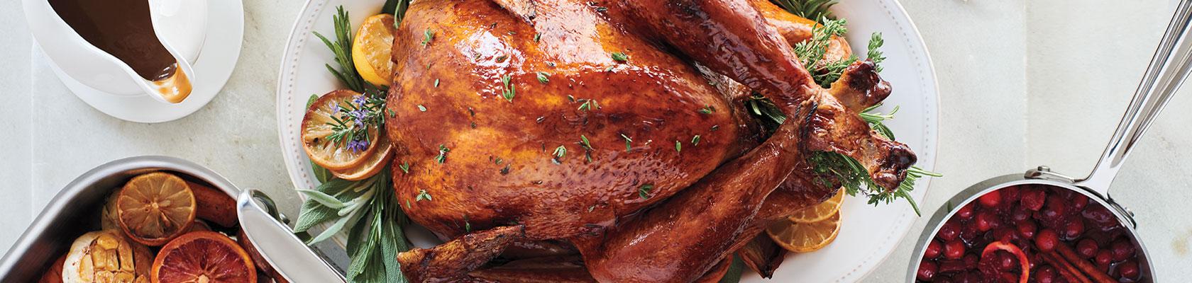 Roasted turkey on white oval Pearl platter