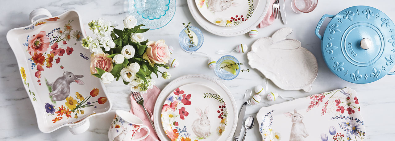 Floral Dinnerware with rabbits