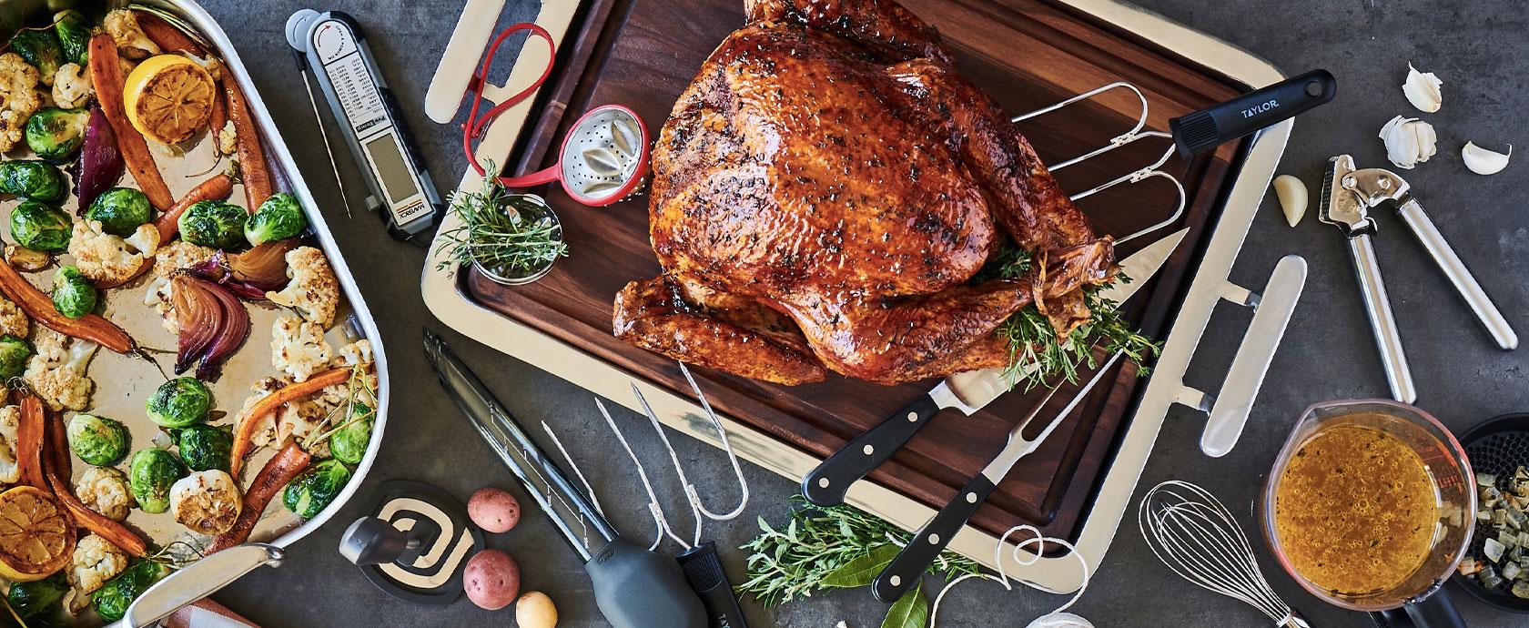 Thanksgiving turkey on cutting board