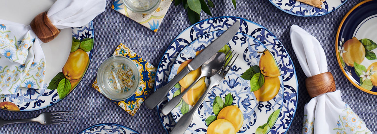 Limone blue and white dinnerware