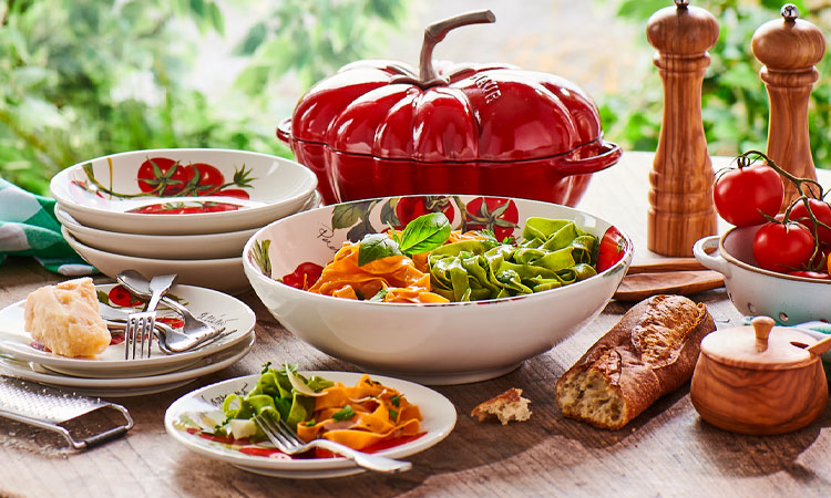 Farmers Market tomato dinnerware and serving bowl
