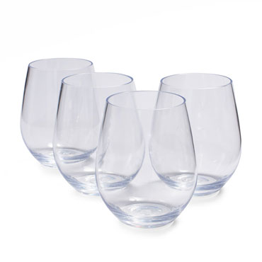 Outdoor Stemless Wine Glasses, Set of 4