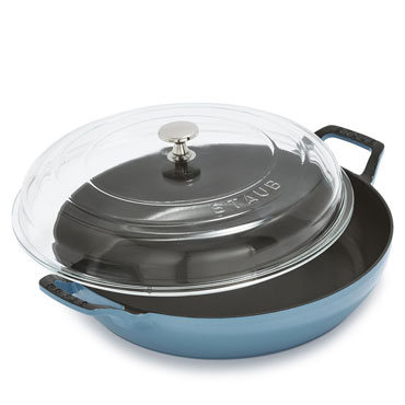 Staub Heritage All-Day Pan in grenadine with Domed Glass Lid, 3.5 qt.