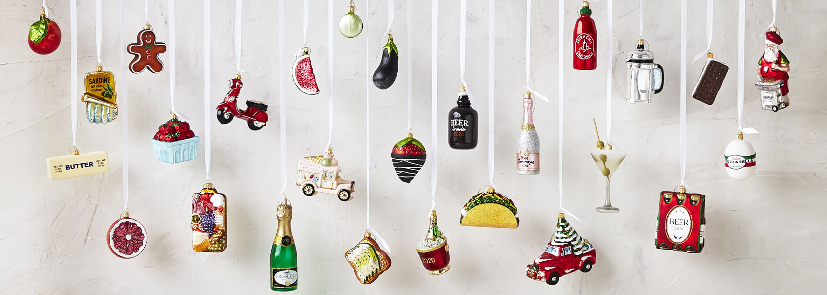 Sur La Table glass holiday ornaments